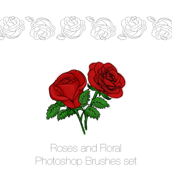 Roses and Floral Photoshop Brushes and PNGs pack