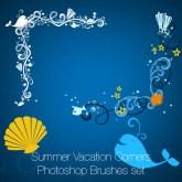 Summer Vacation Corners Photoshop Brushes set