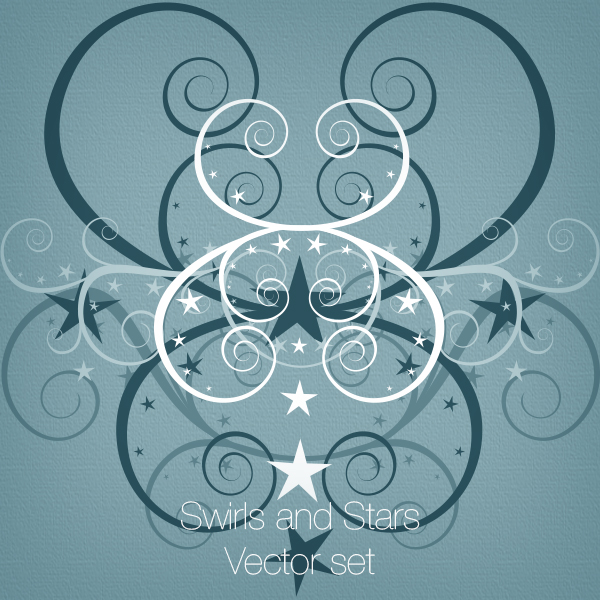 Swirls and Stars Vector set