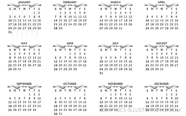 Calendar 2016 Photoshop Brushes set