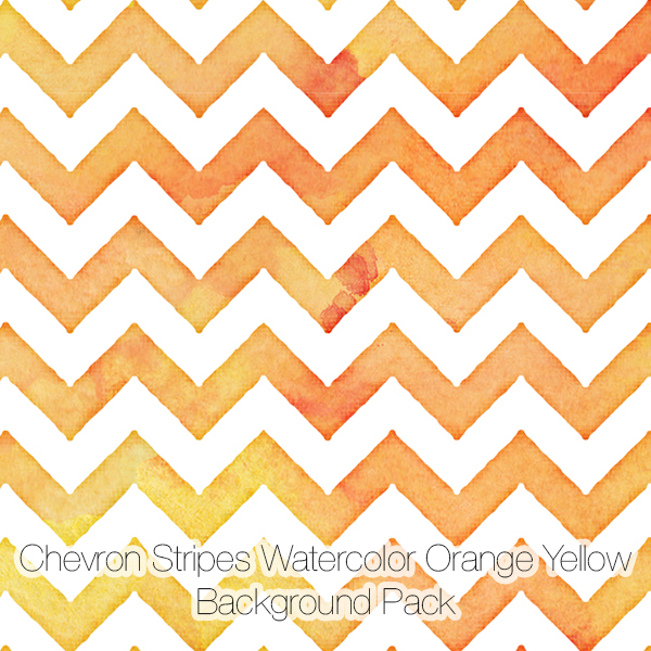 Chevron Stripes Watercolor Backgrounds Pack, Orange Yellow