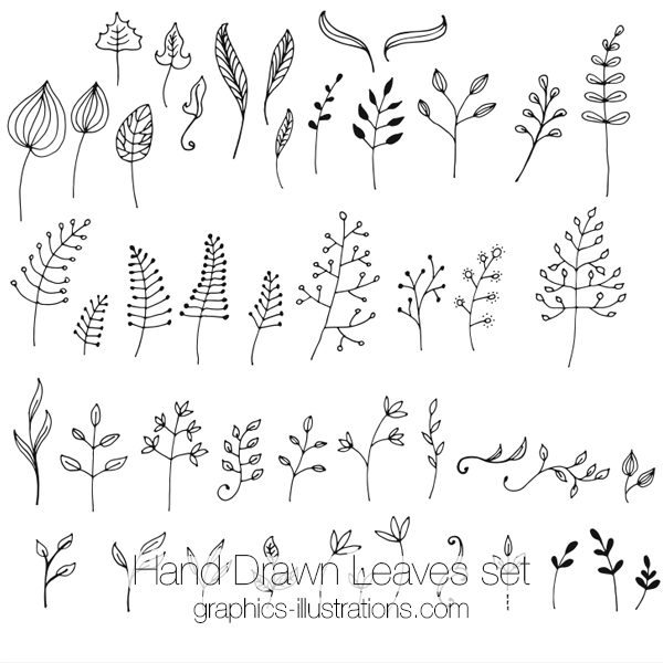 Hand Drawn Leaves Clip Art Set