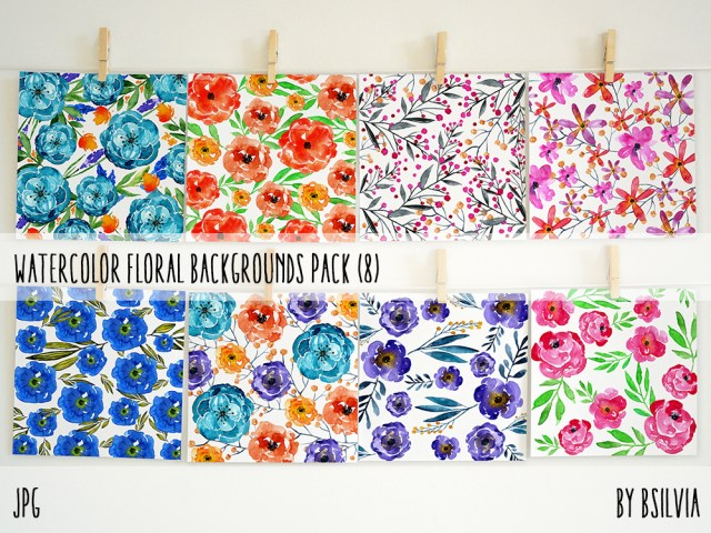 Watercolor Floral Backgrounds, Watercolor Floral Digital Paper Pack, Floral Papers for Digital Scrapbooking, Commercial Use