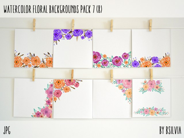Watercolor Floral Backgrounds with Text Space, Watercolor Flowers Backgrounds Pack 7, Watercolor Flower Digital Paper, Floral Bloom Paper