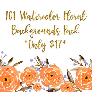 101 Watercolor Floral Backgrounds