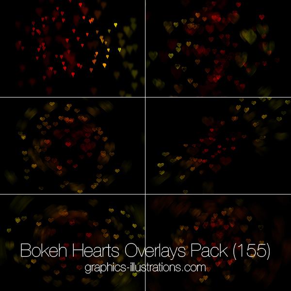bokeh hearts overlays pack on graphicsillustrationscom