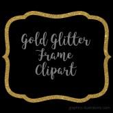 Gold Glitter Frame Clipart, Gold Glitter Border Clipart, Digital Gold Label Clip Art, Commercial Use