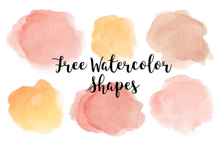 Watercolor Shapes, set of 6 watercolor clip art
