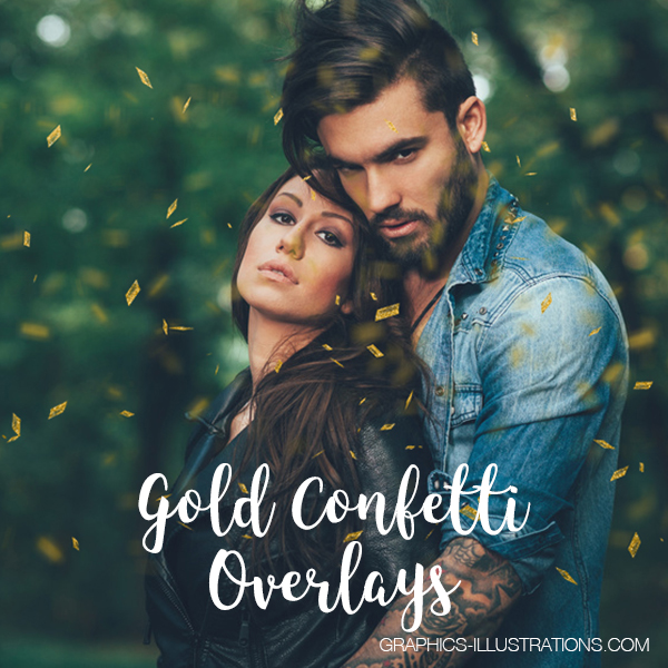 Gold Confetti Overlays, Set of 16 PNG Photo Overlays