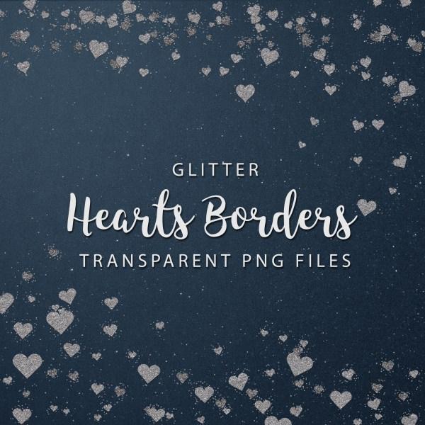 Glitter Hearts Confetti Borders