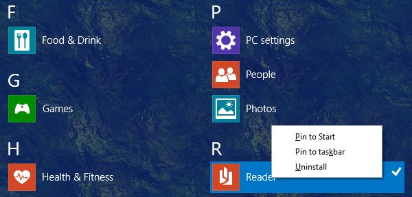 uninstall windows reader app