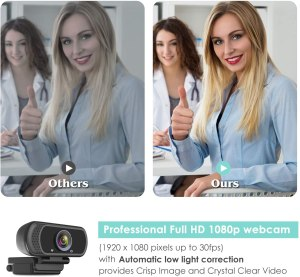 HD Webcam 1080P with Microphone Low Light