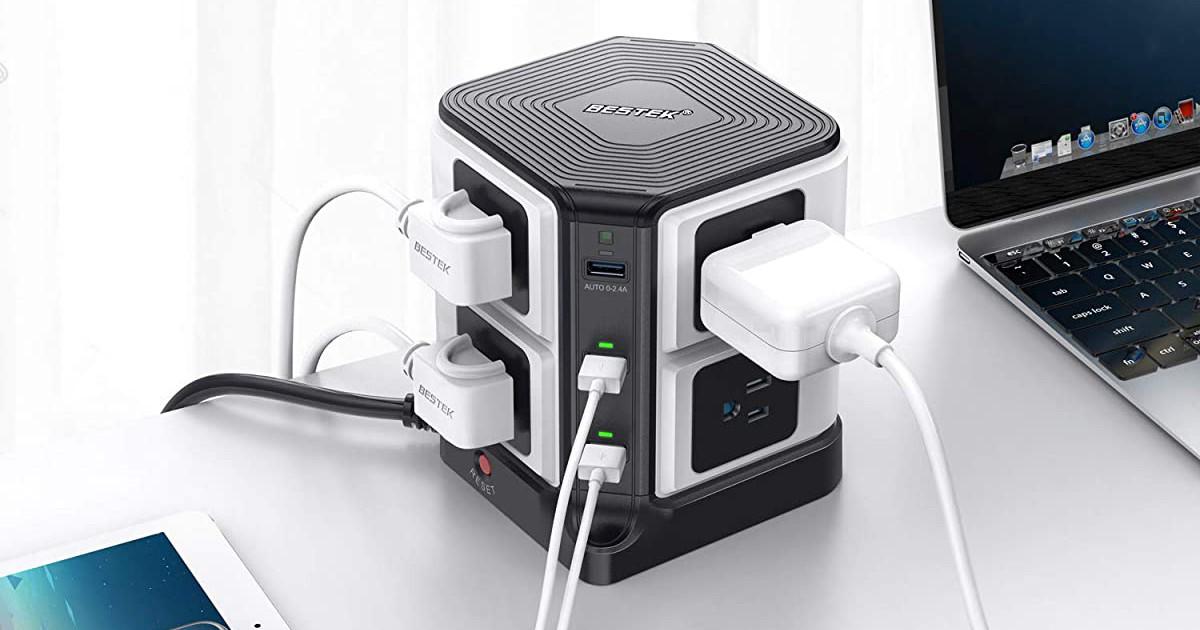 BESTEK USB Power Strip 8-Outlet Surge Protector 1500 Joules