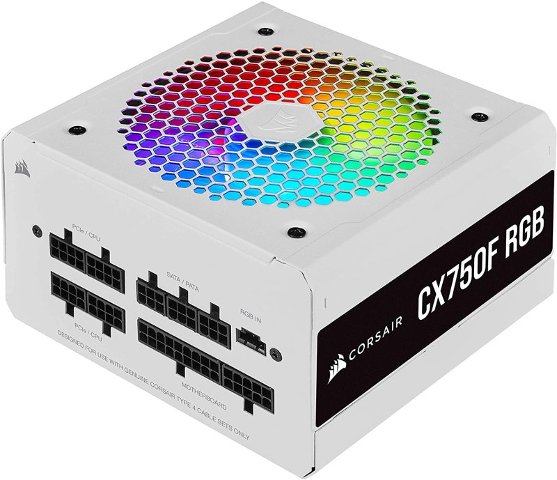 Corsair CX750F RGB, 750 Watt, 80 Plus Bronze, Fully Modular RGB White Power Supply Back