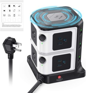 BESTEK USB Power Strip with 10W Wireless Charger 8-Outlet Surge Protector and 40W 6-Port USB Charging Dock Station