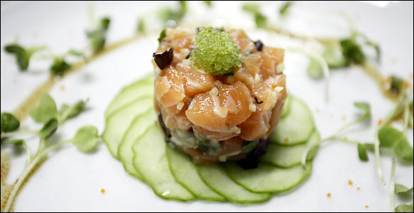 Salmon tartar with wasabi tobiko from Restaurant Bobby Chinn.