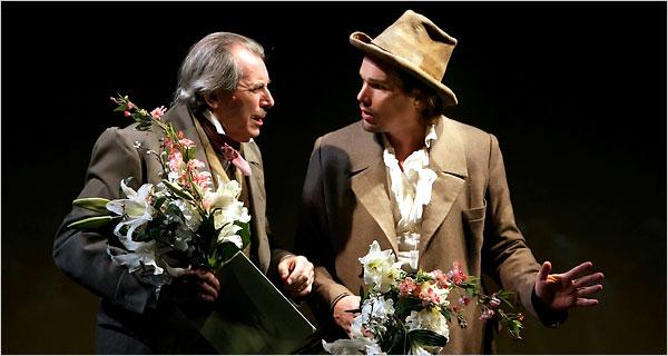 "Richard Easton, left, as Alexander Bakunin and Ethan Hawke as Michael Bakunin in ""Voyage."""