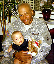 First Sgt. Charles Monroe King and his son Jordan