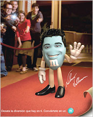 A caricature of actor Wilmer Valderrama is featured in a print ad for M&M's aimed at Hispanic consumers