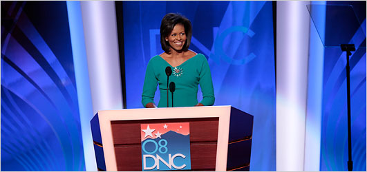 Michelle Obama addressing the Democratic National Convention (NYT)