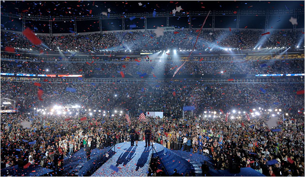 Senator Barack Obama accepted the presidential nomination of the Democratic Party in front of 80,000 people Thursday night at Invesco Field in Denver. (NYT)
