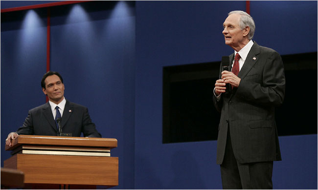 "Jimmy Smits, left, as the Democratic presidential nominee, debating Alan Alda, as his Republican opponent, in the final season of the NBC series ""The West Wing."""