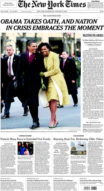 NYT Front Page 01/21/2009