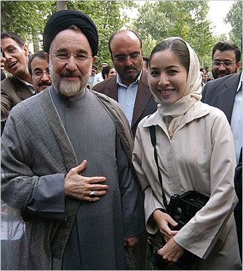 Roxana Saberi with Iran's former President Mohammad Khatami in an undated photograph released by her family. (Credit: Saberi/NPR)