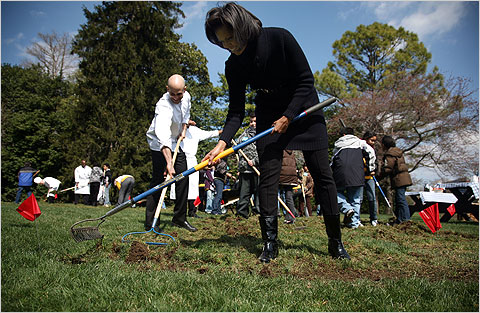 First Lady Michelle Obama pitched right in with shovel