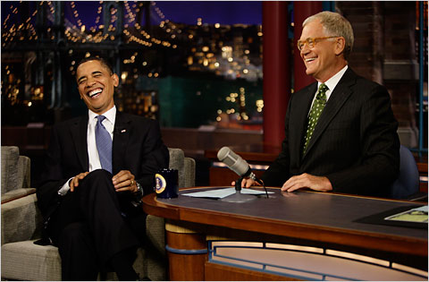 President Obama appearing with David Letterman
