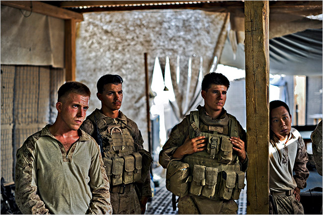 Members of the 2/8 Battalion in Garmsir. Inside the town, life is fairly normal. Outside, the Taliban are a constant threat.