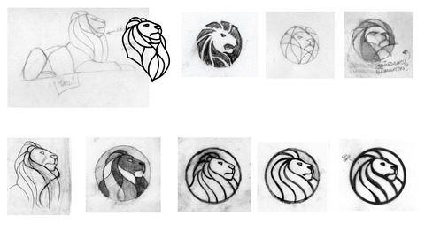 Sketches that were drawn by staff of the New York Public Library in the process of designing a new lion logo.