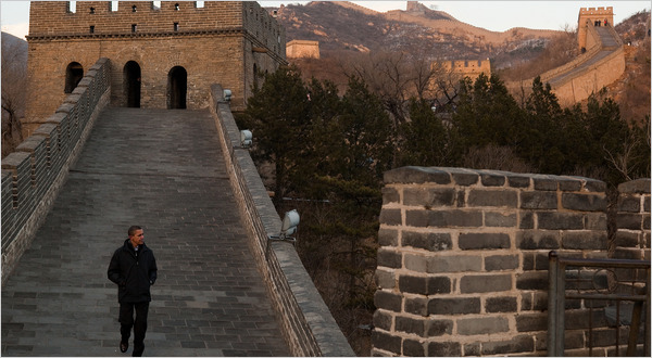 President Obama touring the Badaling section of the Great Wall