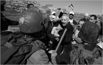 Israeli troops and Palestinians from Nabi Saleh scuffled on Jan. 15 as the group tried to reach farmland.
