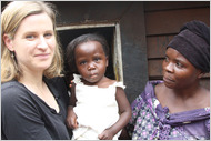 Lisa Shannon with the Congolese Lisa named after her, and the girl's mother.