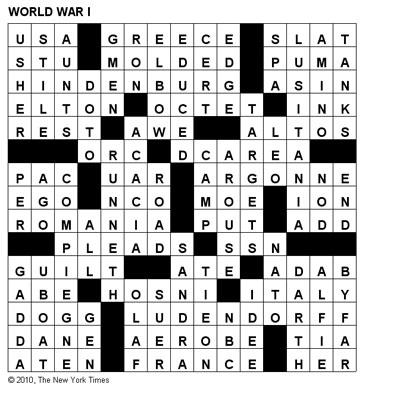 Crosswords: World War I