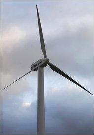 A wind turbine in Lem, Denmark.
