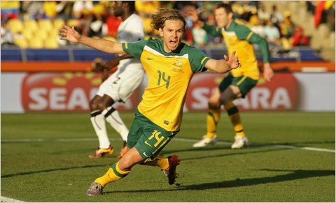 Brett Holman of Australia celebrated his goal that gave his team an early 1-0 lead over Ghana.