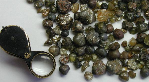 Diamantes encontrados en el campo de Marange, Zimbabwe