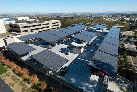 A parking garage with photovoltaic panels at the University of California at San Diego.