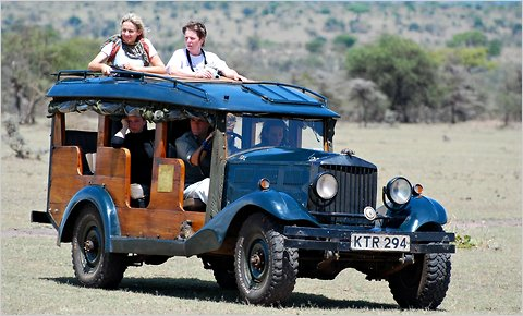 On a trip organized by the outfitter Trufflepig, game viewing in a vintage Rolls Royce in Kenya.