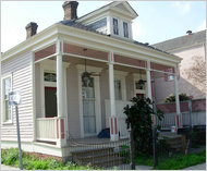 A shotgun homes in New Orleans's Bywater neighborhood.