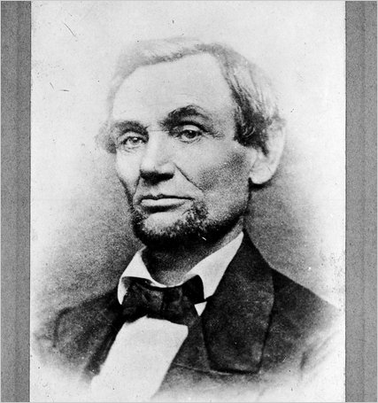 Library of Congress image, first photo of Lincoln's beard, by Samuel Alschuler in Chicago, 11-25-1860 (via NY Times)