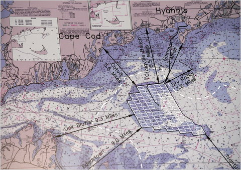 A diagram of the turbine array for the Cape Wind project.