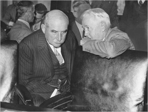 J.P. Morgan, left, with his counsel at the Pecora commission hearings in 1933. The hearings brought a new climate for financial regulation, unlikely with the most recent inquiry, experts say.