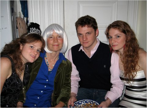 Paulette Crowther, second from left and wearing a wig because of her chemotherapy, celebrates with children (from left) Camille, Tristan and Justine Almada on New Year's Eve, 2009.