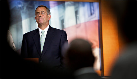 House Speaker John A. Boehner spoke to reporters at the Capitol on Friday morning about the debt negotiations.