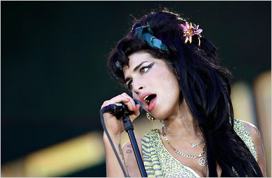 Amy Winehouse at a music festival near Madrid in 2008.