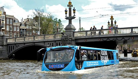 The Floating Dutchman, an amphibious tour bus, in one of Amsterdam's canals.