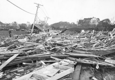 Remains of houses littered Westhampton after hurricane in 1938.